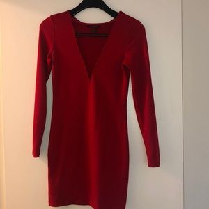 Red dress with mesh cutout Size M